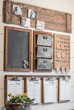 How to design a rustic farmhouse style command center for your small home office or entryway. Create a drop zone to keep your home organized. farmhouse office, A Rustic Style Home Command Center Perfect for a Small Space. Family Command Center, Command Center Kitchen, Chalkboard Command Center, Family Message Center, Laundry Center, Diy Chalkboard, Chalet Design, Small Home Offices, Décor Boho