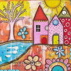 """""""Little Village"""" inspired by jodi Ohl Mixed Media canvas 30 x 30 Original canvas by Lina Narcisi"""