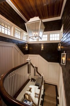 Contrasting Woodwork. Staircase sisal carpet