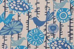 Premier Prints Menagerie Cotton Drapery Fabric in Arctic Blue/Natural $7.48 per yard- www.fabricguru.com  Kids Bathroom?