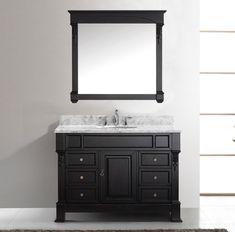 Virtu USA 48 in. Huntshire Manor Dark Walnut Single Round Sink Black Galaxy Top Bathroom Vanity with Dark Walnut Frame Mirror Single Sink Bathroom Vanity, Bathroom Vanity Cabinets, Bathroom Furniture, Single Vanities, Bathroom Vanities, Round Sink, Recycling, Quality Cabinets, Vanity Set With Mirror