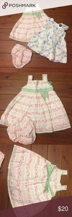 2 pretty girls dresses. NWT 2 brand new pretty girls dresses. Pink and green dress is by Maggie and Zoe aged 12 months comes with Matching underwear. Blue butterfly dress says 3 to 6 months but looks more like 6 to 12 months and comes with matching headband by primark.  2 outfits for $20 NWT Maggie and Zoe.  Dresses Casual