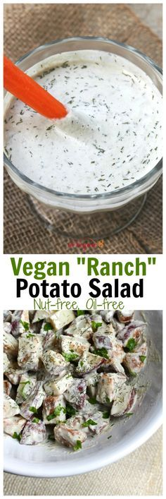 Vegan Ranch Potato Salad (Nut-free, oil-free, soy-free) – More at http://www.GlobeTransformer.org