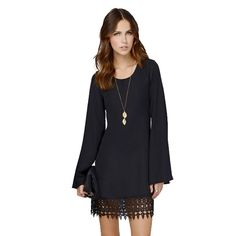 Hqclothingbox Women's Long Sleeve Chiffon A-line Lace Stitching Trim Mini Dress -- Awesome products selected by Anna Churchill