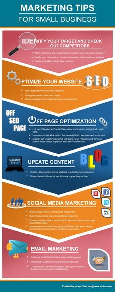 This Infographic provides a good overview of Marketing tips specific to Small Business.