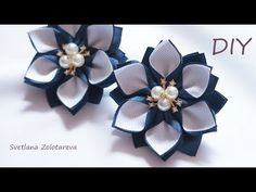 Simple flowers from kanzashi tape Scrunchy Satin Ribbon Flowers, Ribbon Art, Diy Ribbon, Fabric Ribbon, Ribbon Crafts, Flower Crafts, Fabric Flowers, Kanzashi Tutorial, Ribbon Flower Tutorial