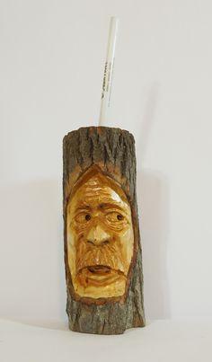 Carved by scott Longpre Wood spirit Ooak pencil holder Diamond willow.