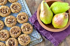 Pear Ginger Thumbprints with Caramel Drizzle--Pinned by #conceptcandieinteriors #gluetenfree