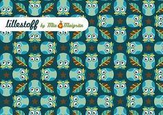 Lillestoff Eulenquartett Eulen Uhu Owls Blätter petrol BIO Jersey Stoff GOTS
