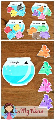 FREE Ocean Preschool Centers sort the 2d shaped fish to the correct fishbowl