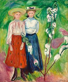Two Young Girls in the Garden - Edvard Munch