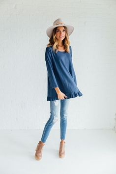 Asymmetrical Tee in Blue – cladandcloth