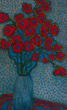 Acrylic Flowers, Abstract Flowers, Folk Art Flowers, Flower Art, Still Life Art, Paintings I Love, Naive Art, Whimsical Art, Fine Art Gallery