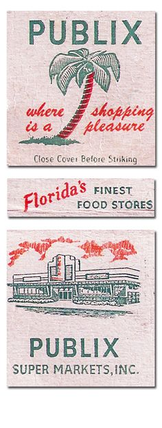 Publix supermarket vintage matchbook