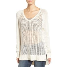 Women's Roxy Open Knit Cotton Pullover ($50) ❤ liked on Polyvore featuring tops, sweaters, angora, layered sweater, v-neck pullover sweater, lightweight sweaters, v-neck pullover and white v neck sweater