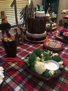 Lumberjack first birthday party food table