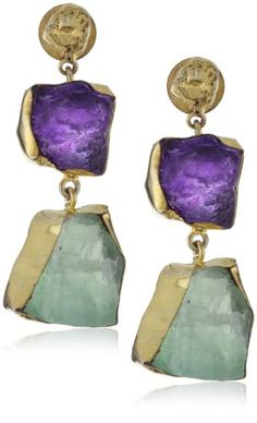 """Zariin """"The Spirited Two"""" Amethyst and Fluorite Gold Earring"""