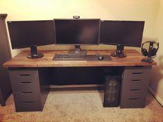 Early 2018 setup, more to come - battlestations Computer Desk Setup, Gaming Room Setup, Pc Desk, Home Office Setup, Home Office Space, Office Ideas, Trading Desk, Living Room Tv Unit Designs, Bedroom Setup
