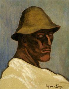Albin Egger-Lienz – Kopf des zweiten Bauern im Totentanz, 1918