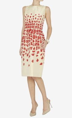 Oscar de la Renta Cream And Red Dress   VAUNTE