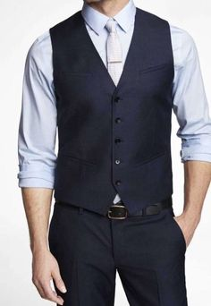EXPRESS NAVY TWILL VEST - SIZE EXTRA SMALL #Express