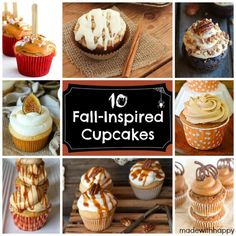 10 Fall-Inspired Cupcakes Apple Cupcakes, Baking Cupcakes, Cupcakes Fall, Cupcake Flavors, Cupcake Recipes, Cupcake Ideas, Fall Dessert Recipes, Fall Recipes, Delicious Recipes