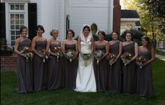 Charcoal grey bridesmaids dresses