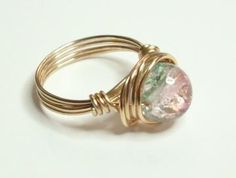 Pink Green and Gold Wire Wrapped Ring by RingsandThings for $9.00