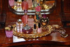 1:12 Dollhouse Miniature Perfume Bottles Glass Crystal Vanity Dresser Set Pinks #ColesCreations