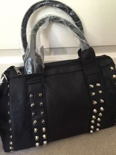 New black #bowling bag #shopper faux #leather studded handbag shoulder strap gift,  View more on the LINK: http://www.zeppy.io/product/gb/2/122212385060/