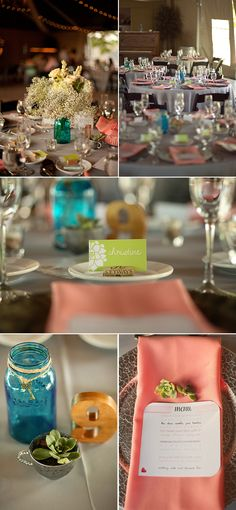 Limefish Studio: Rustic & Romantic Temecula Vineyard Wedding Photos © Ashley Bee | Menu Cards | Succulent Table Settings | Baby's Breath Centerpiece | Blue Mason Jar Centerpiece | Wooden Table Numbers