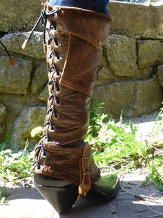 brown leather spats by ulantia on Etsy, $162.00