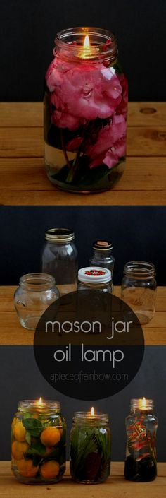 Make gorgeous oil lamp from mason jars and glass bottles. Safer than candles, it takes only 2 minutes to make using vegetable oils and water! - A Piece Of Rainbow #diyhomedecor #diymasonjar