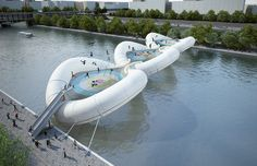 """""""Trampoline Bridge""""  A Tentative Project presented by Atelier Zündel Cristea for a Bridge to cross the River Sena on Paris, France.    """"That looks too Exciting"""""""
