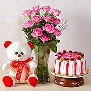 Cake & Teddy Home Flowers, Send Flowers, All Flowers, Exotic Flowers, Teddy Bear Online, Red Rose Arrangements, Online Birthday Gifts, Heart Shaped Cakes, Gift Hampers