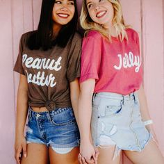 Best Friends Peanut Butter & Jelly Tees / bff shirts / big little gift / greek sorority t shirts - Bestie Shirts - Ideas of Bestie Shirts - Best Friends Peanut Butter & Jelly Tees / bff shirts / big 2 Person Halloween Costumes, Cute Costumes, Halloween Outfits, Costumes For Women, Group Costumes, Halloween Ideas, Homemade Halloween, Cute Best Friend Costumes, Bff Costume Ideas