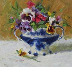 Blue Pansies Painting - Flow Blue And Pansies by Judy Crowe