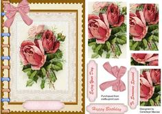 A lovely Pyramid card front to make and give to anyone on there special day Lovely Book of Pink Roses a lovely card has three greeting tags and a blank one for you to choose the sentiment