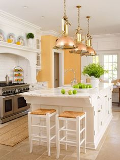 Beautiful-Orange-and-White-Decoration-Style-for-Kitchen-Islands-Ideas.