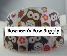 Owl Ribbon 7/8 5 yards Hair Bow Clip by BowneensBowSupply on Etsy, $4.99