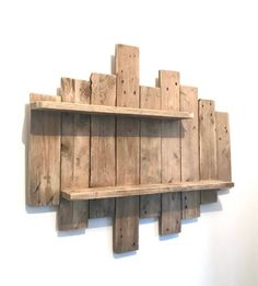 Painting / NATURE & ZEN by WoodAixpo pallet wood wall shelf - diydeco Wooden Pallet Wall, Wooden Wall Shelves, Wooden Walls, Wood Pallets, Shelf Wall, Crate Shelves, Woodworking Projects Diy, Diy Wood Projects, Decoration Palette