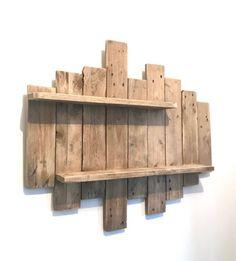 Painting / NATURE & ZEN by WoodAixpo pallet wood wall shelf - diydeco Wooden Pallet Wall, Wooden Wall Shelves, Wooden Pallet Projects, Diy Pallet Furniture, Woodworking Projects Diy, Wooden Walls, Wood Pallets, Pallet Ideas, Shelf Wall