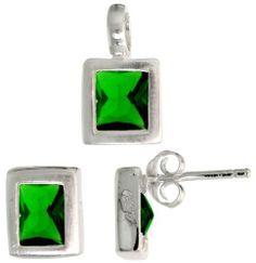 Sterling Silver Matte-finish Rectangular Earrings (8mm tall) & Pendant (13mm tall) Set, w/ Emerald Cut Emerald-colored CZ Stones Sabrina Silver. $46.13