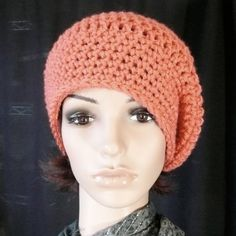 Long Slouchy Beanie in Coral  Peach  Salmon by HiJinx on Etsy, $18.00
