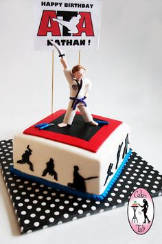Taekwondo birthday cake for Nathan who celebrated his birthday AND earned his purple decided belt.