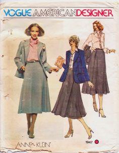 1970s Vogue American Designer Pattern 1947 Anne by CloesCloset, $16.00