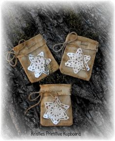 Primitive Christmas Snowflake Bags