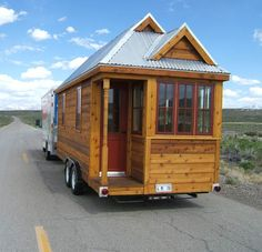 Portable home built on a flatbed trailer