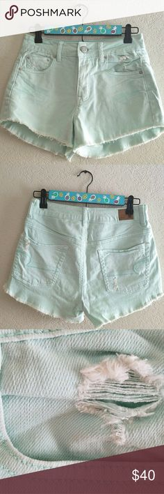American Eagle high waisted shorts Mint high waisted shorts with tears. Never worn so they are basically new.*No trades *I am happy to answer questions about fit, and take measurements if needed *To avoid scammers I will only sell to people that have items on their closet or have reviewed other items. American Eagle Outfitters Shorts Jean Shorts