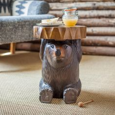 Each Surin Bear Table has been hand carved from Monkey Pod wood. An ideal addition to your home, each table is completely unique in character. Charmed Characters, Monkey Pod Wood, Cheer Up, Natural Materials, Hand Carved, Carving, Bear, Unique, Table